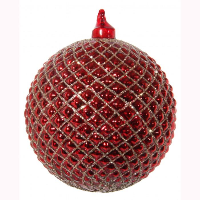 Glass ball gold glitter red 8cm
