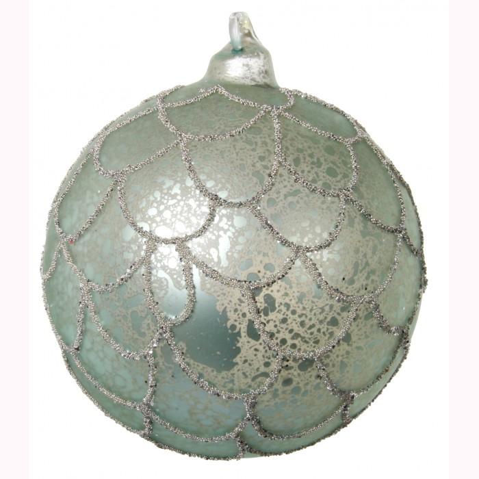 Glass ball glitter garlands mint 10cm
