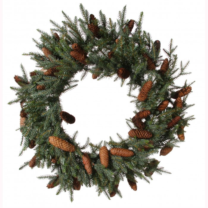 Fir wreath green 45cones d65cm