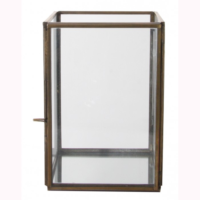 Glass box opening side, mirror base brass antique 10x10x15cm