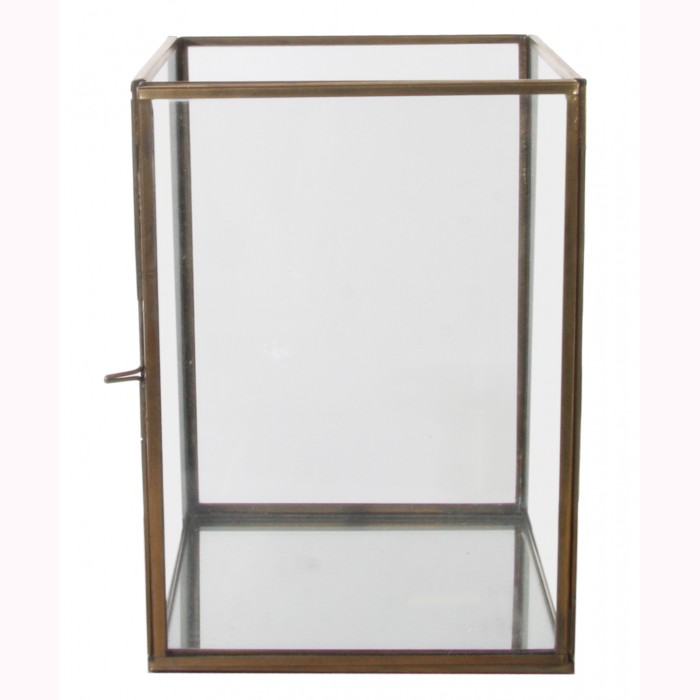 Glass box opening side, mirror base brass antique 13x13,5x18cm
