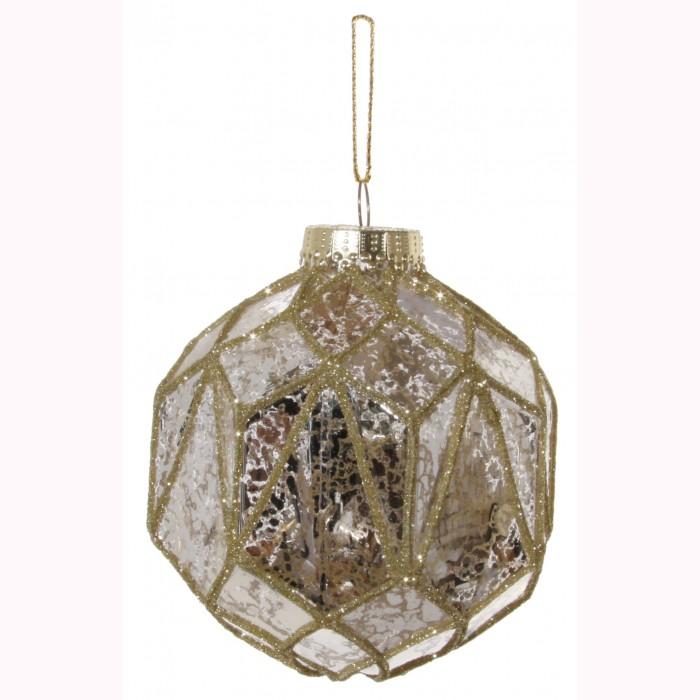 Glass ball polygonal gold 10cm