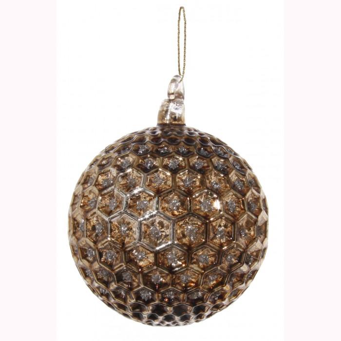 Glass ball hexagon brown silver glitter 8cm