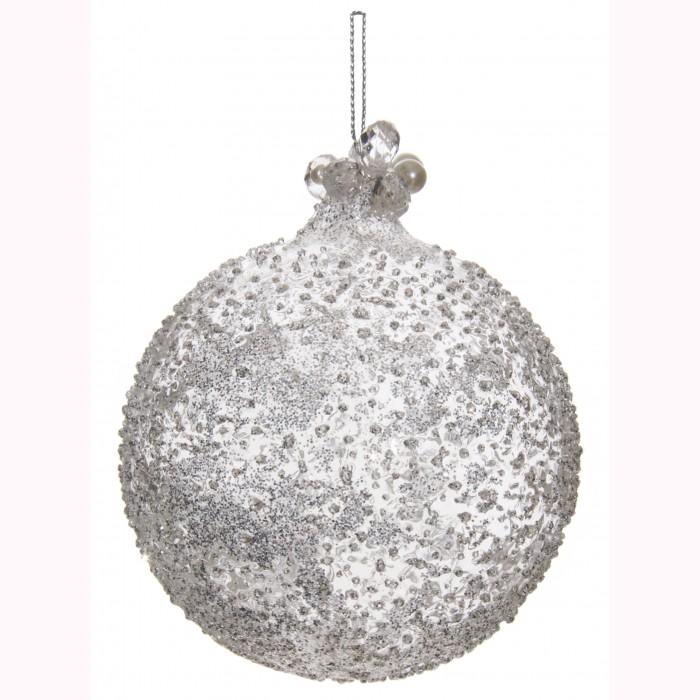 Glass ball iced silver glitter beaded top10cm
