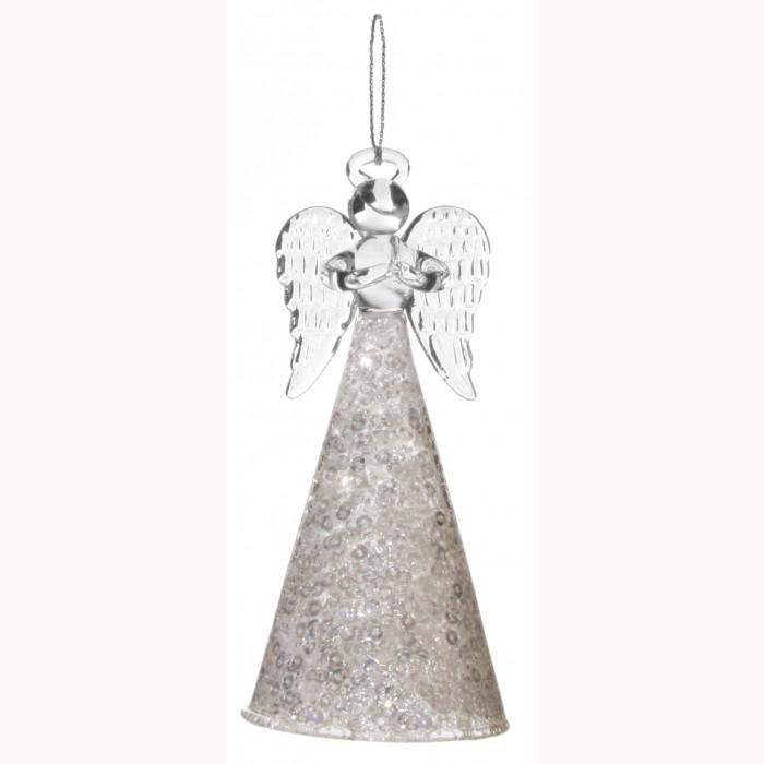 Glass angel w/sequin skirt clear 12cm