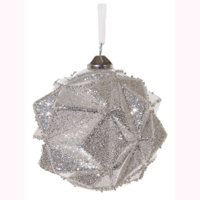 Glass ball angled silver glitter 10cm