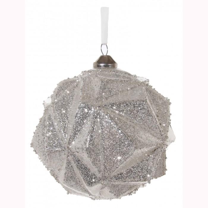Glass ball angled silver glitter 12cm