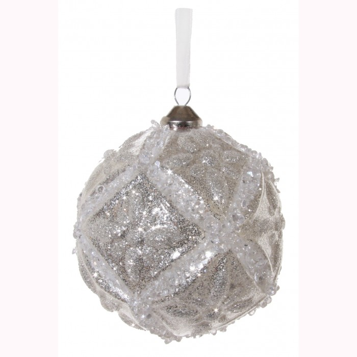 Glass floral ball white silver 10cm