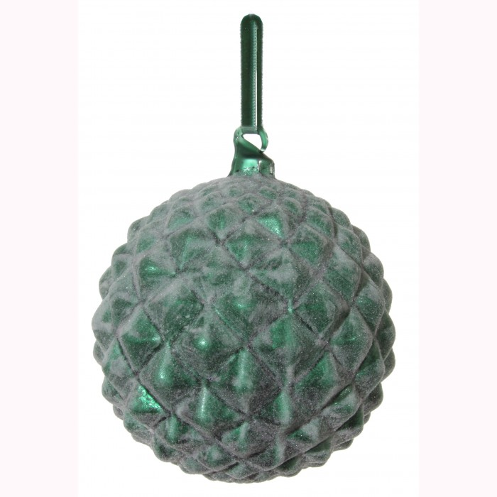 Glass cone ball green sugared 12cm