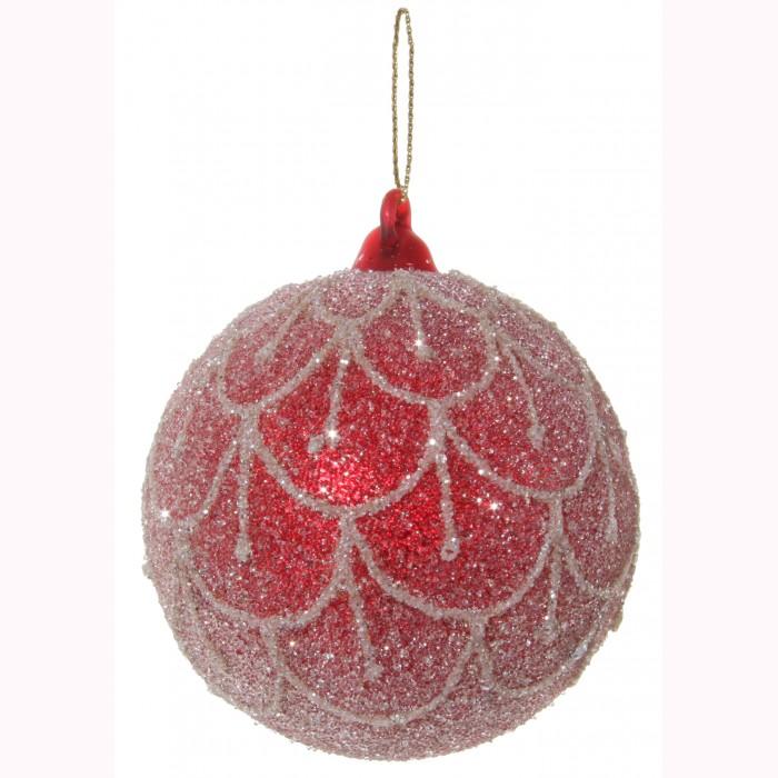 Glass ball red sugared w/glitter deco 8cm
