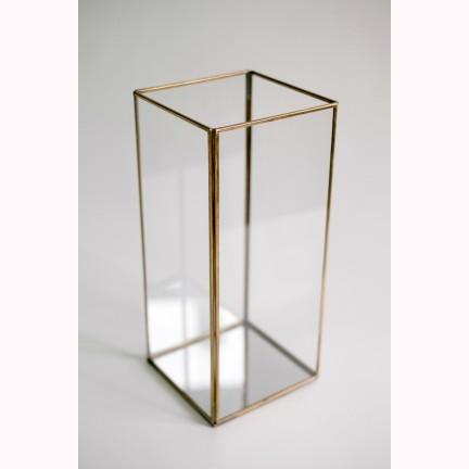Glass CH brass 16x16x36cm