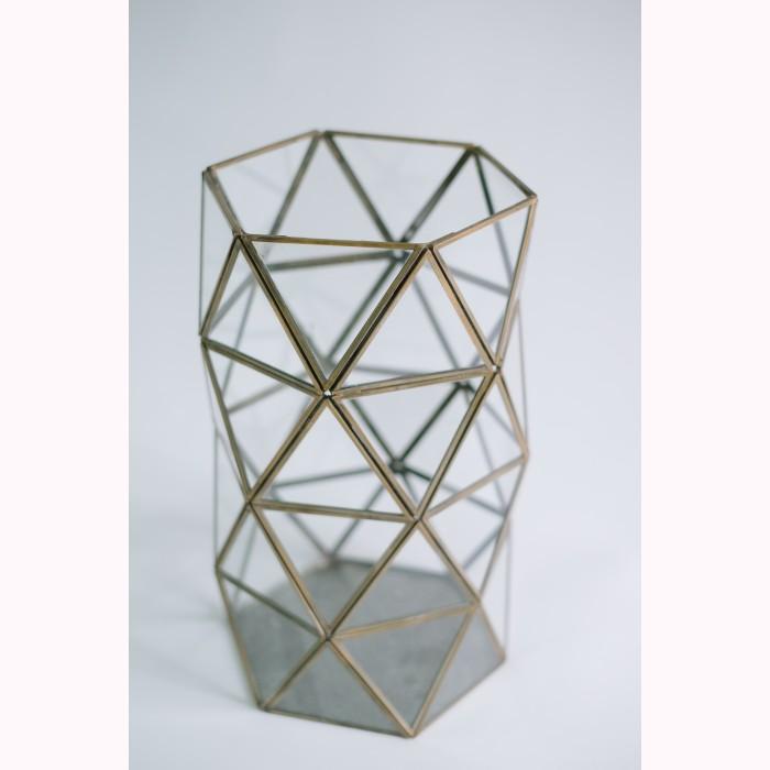 Brass cylinder of triangles 35cm