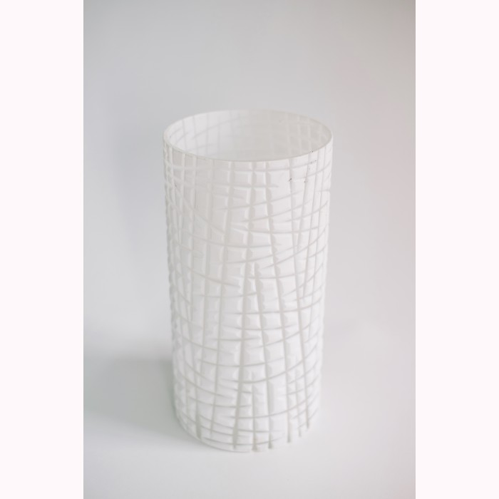 Glass cylinder cross cut white h30cm