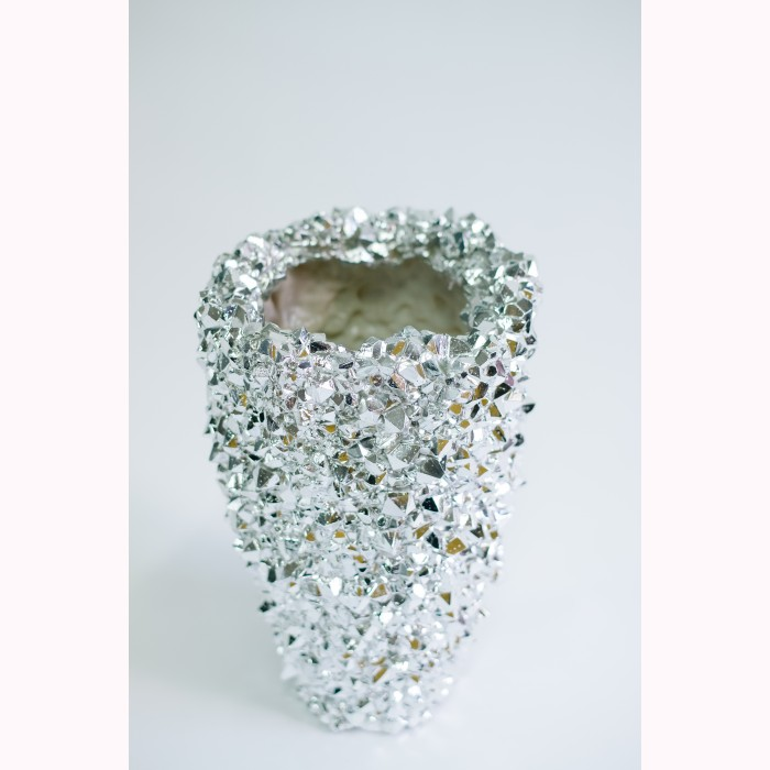 Crystal vase platinum 39cm