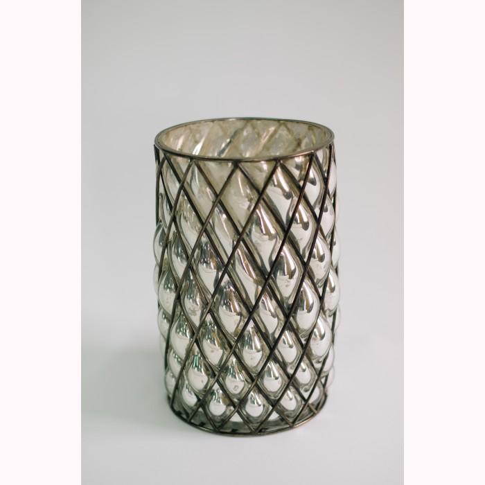 Cylinder w/net silver h27cm