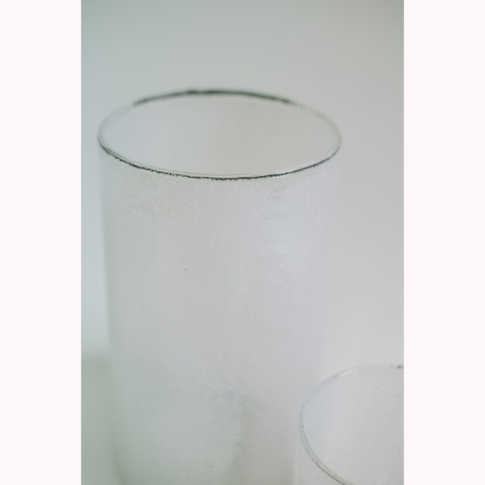 Glass cylinder crincled white h24,5cm