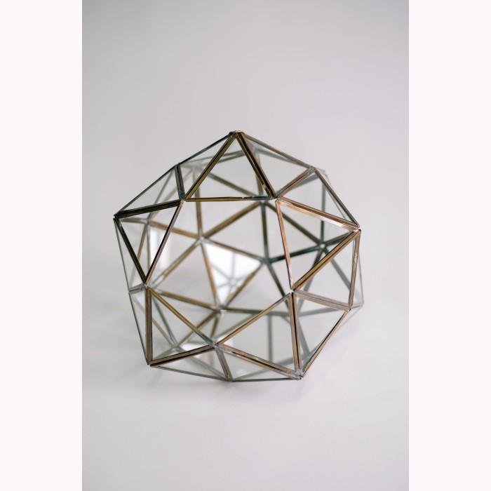 Glass diamond ball CH brass 29cm