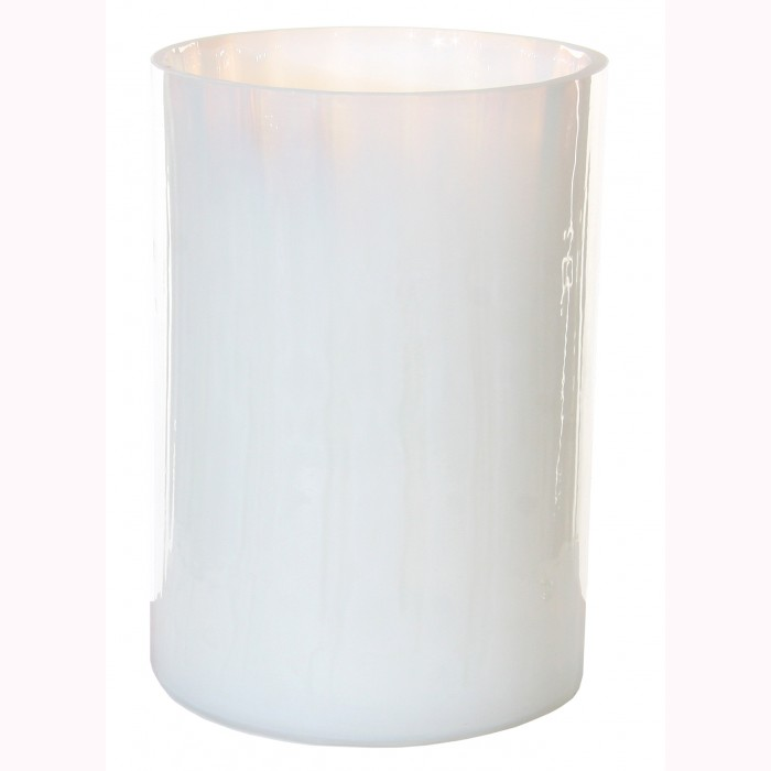 Glass cylinder lined milky white h16cm
