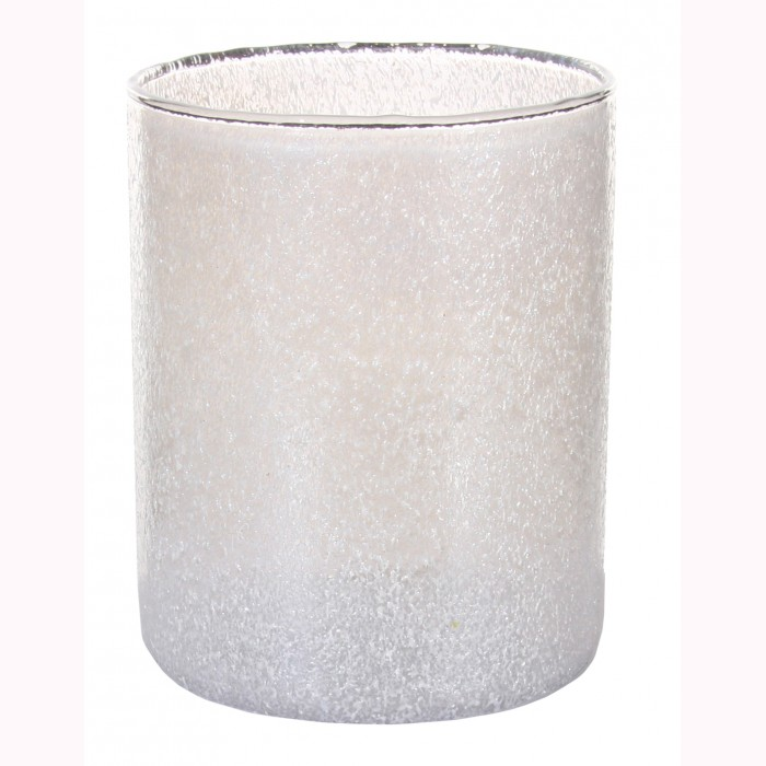 Glass cylinder crincled white h13cm