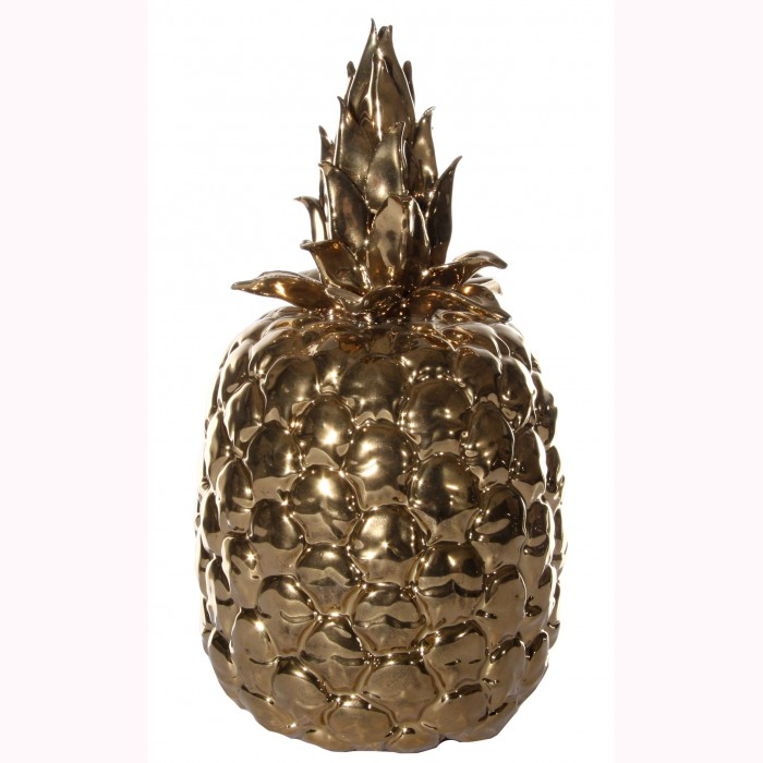 Ceramic pineapple gold h26cm