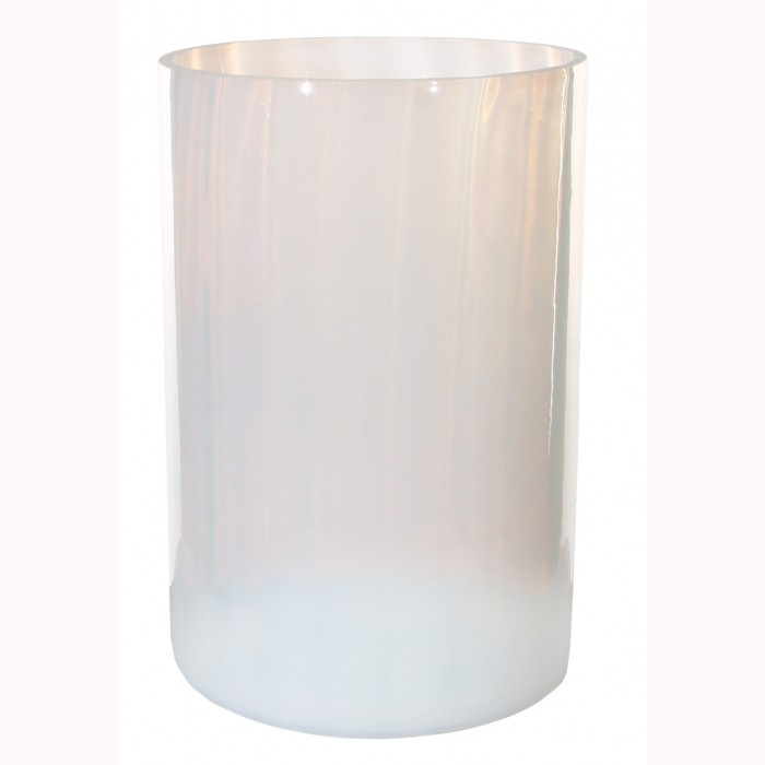 Glass cylinder lined milky white h22,5cm